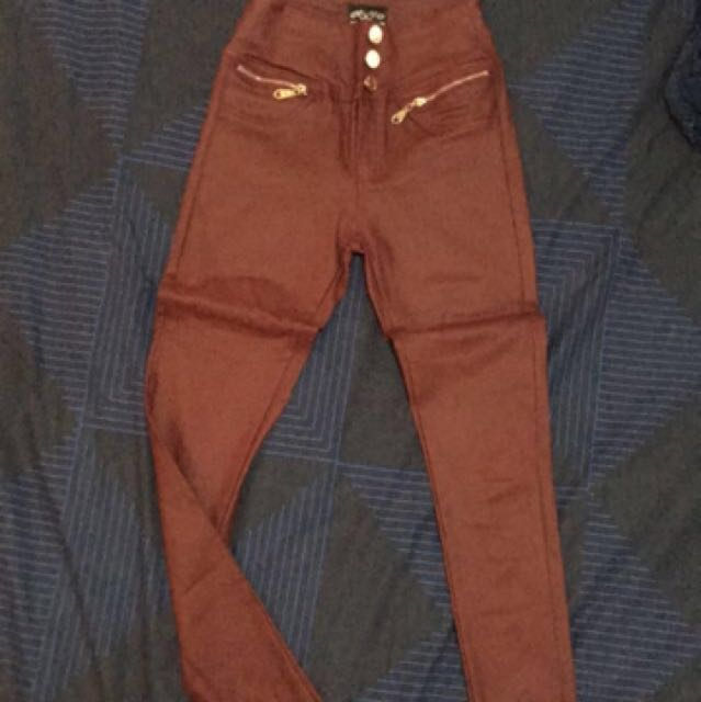 Leather look burgundy pants