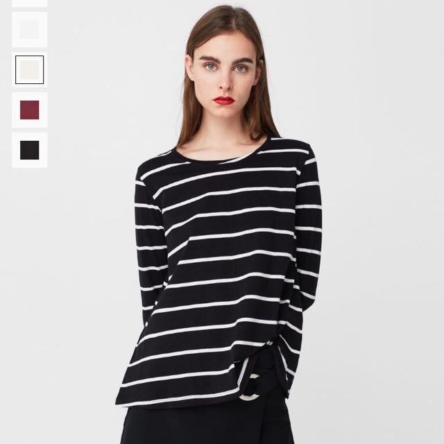 MANGO黑底白條紋 長袖t恤上衣