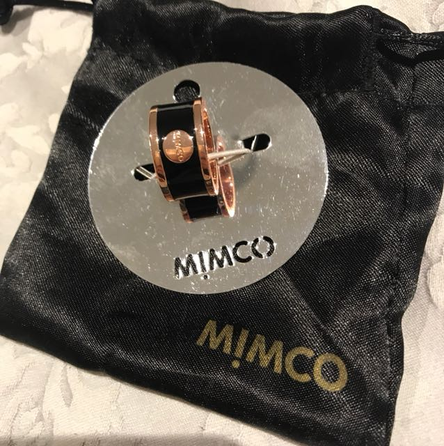 Mimco Rose Gold and Black ring size S