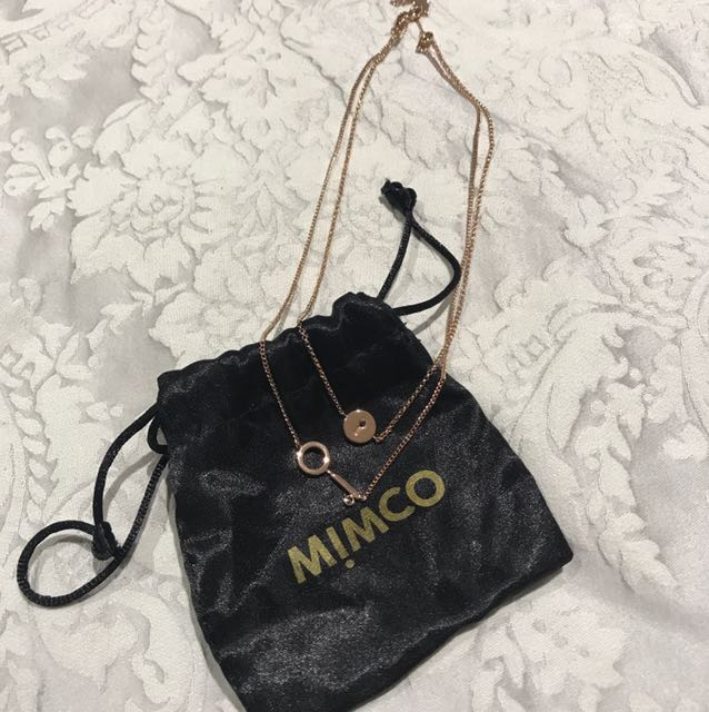 Mimco Rose Gold Double Chain Key Necklace