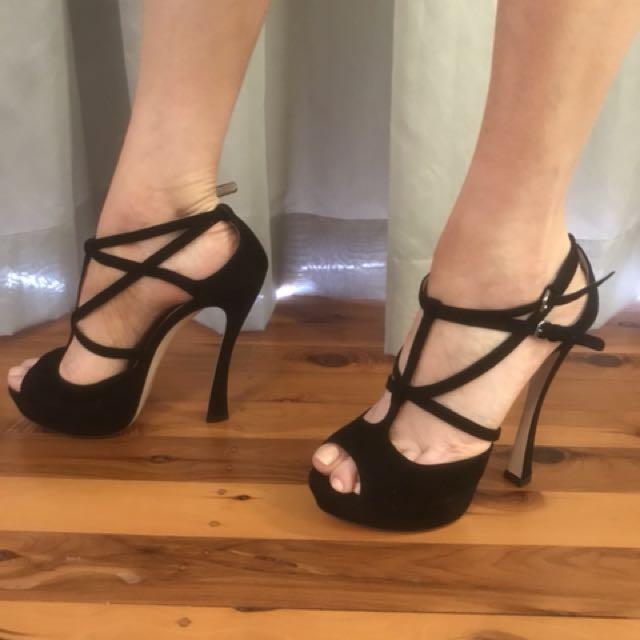 Miu Miu Black Strappy Heels