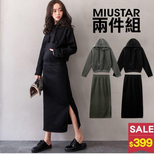 全新❤️MIUSTAR 黑色帽T+長裙