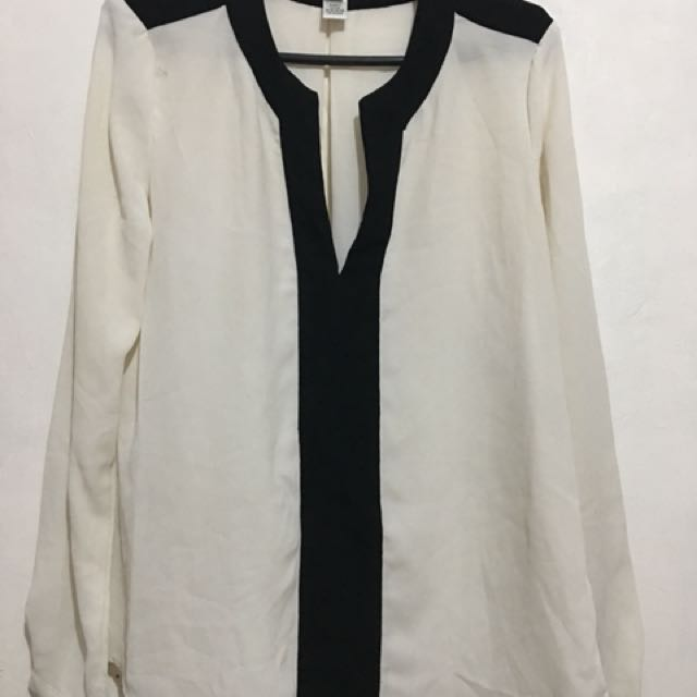 MNG sheer cream blouse with black details