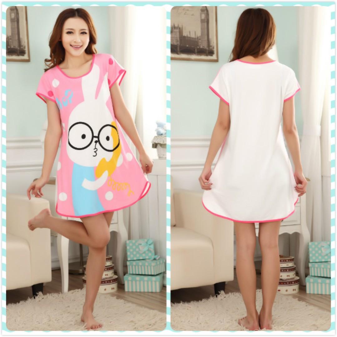 MuiMui Promotion Baju Tidur Polyester Pajamas Cartoon Nightdress Pink  Rabbit M009 c1646174e2