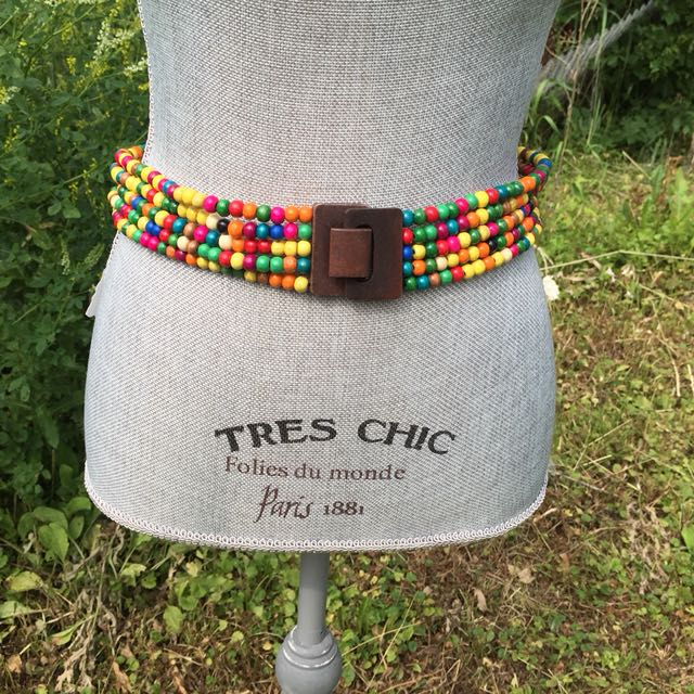 Multi-Coloured Wood Bead Belt Wood Clasp New Stretch M