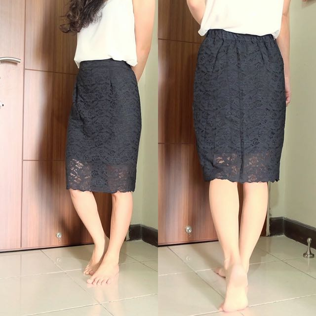 New black lace skirt