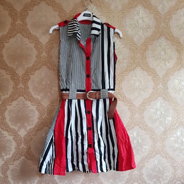NEW Dress Stripe with Belt