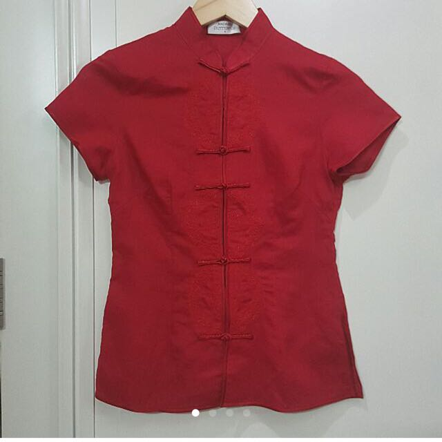 New MADAME BUTTERFLY Red Classic Embroidered  Cheongsam Qipao Top - US4 Size Small - Authentic
