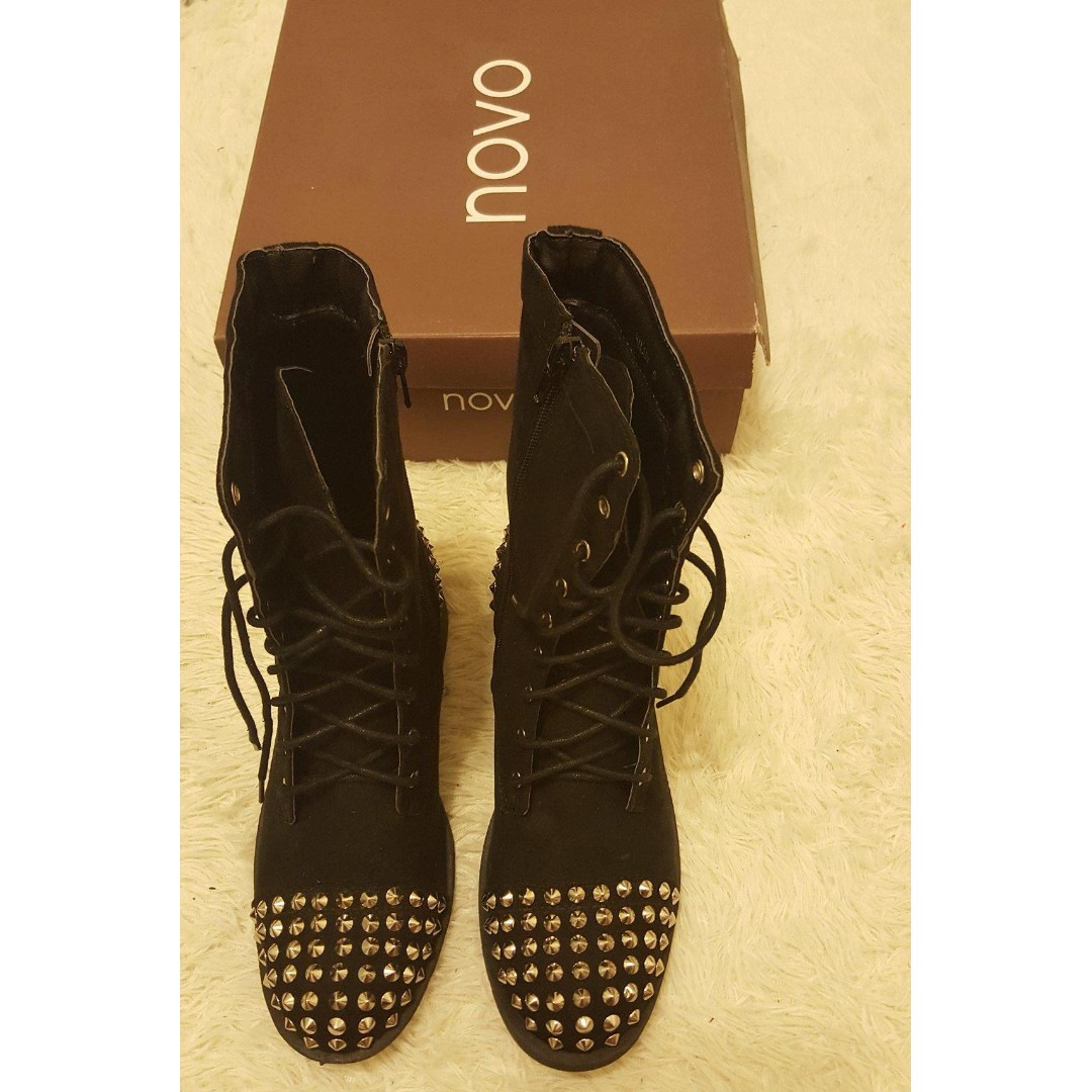 Novo Studded Combat Boots - size 5 fits 6 brand new with box