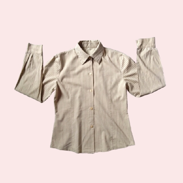 Nude Stripped Button Down/ Flannel