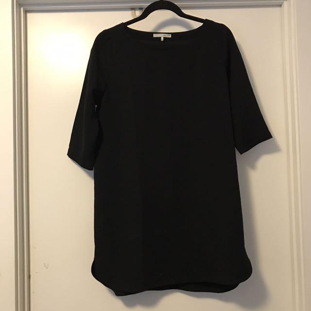 Oak + Fort Black Crepe Dress