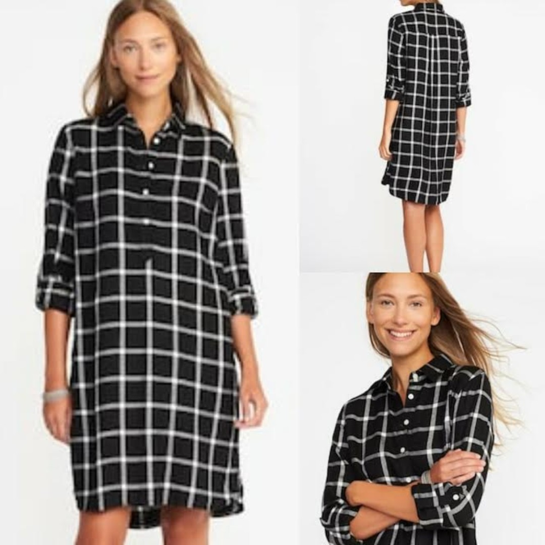 OLD NAVY Dress Kotak2 Black & White