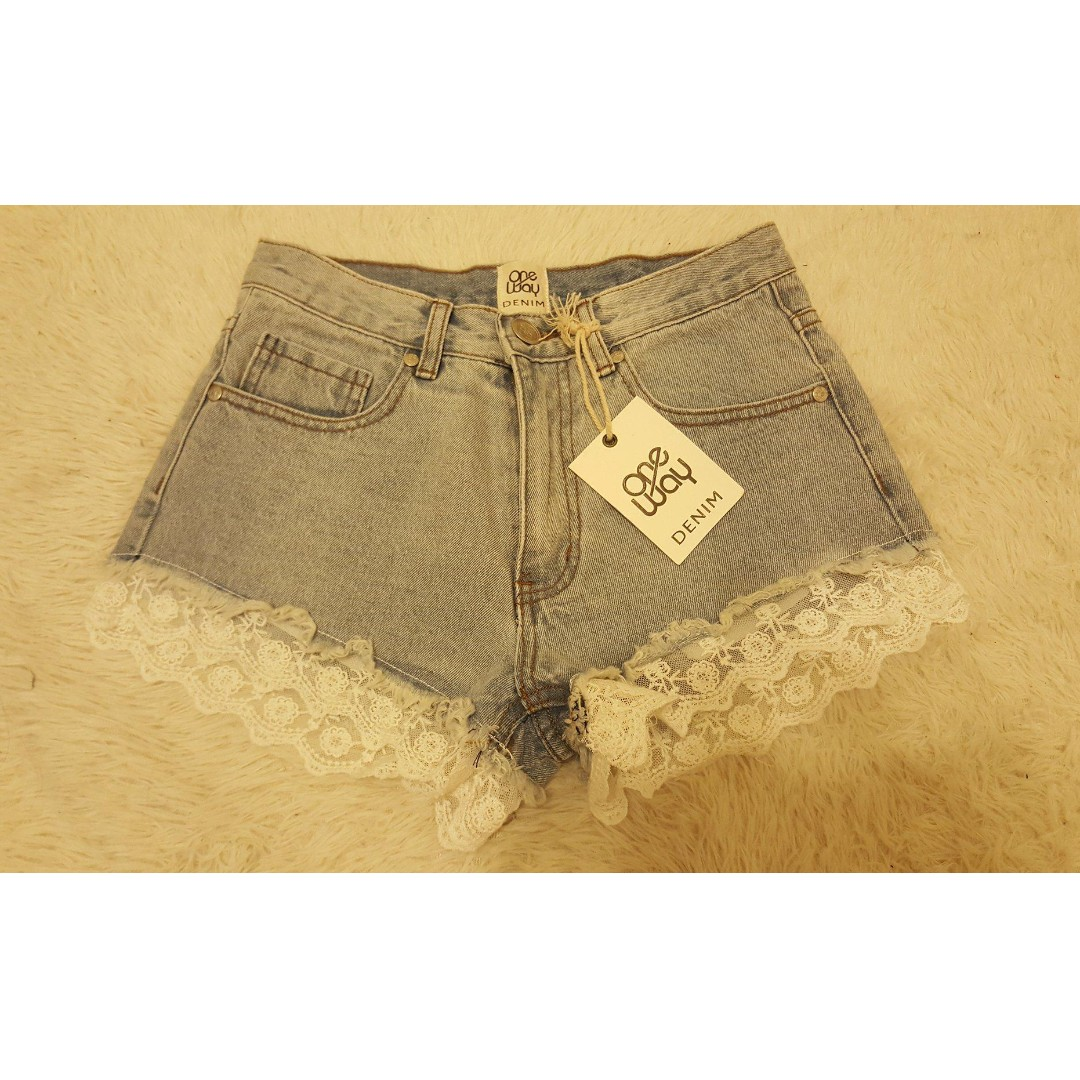 One Way Lace Denim Shorts - size 6 brand NEW