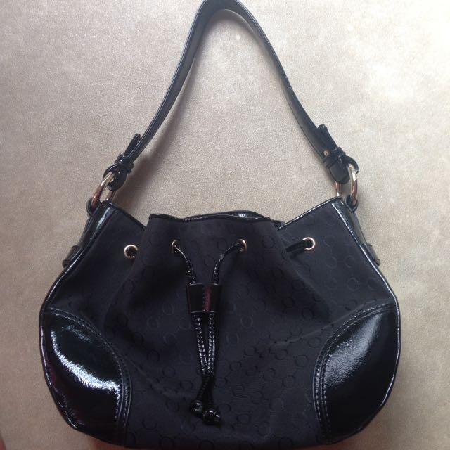 Oroton Black Draw String Hand Bag