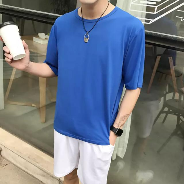 Oversized Elbow Length Sleeve Quarter Sleeves Tee T-shirt Freestyle Fashion Korean Swag Cool Men Oversize Cotton