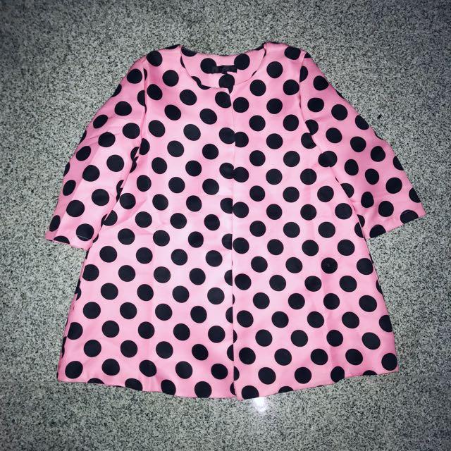 Pink-Black Polkadot Blazer