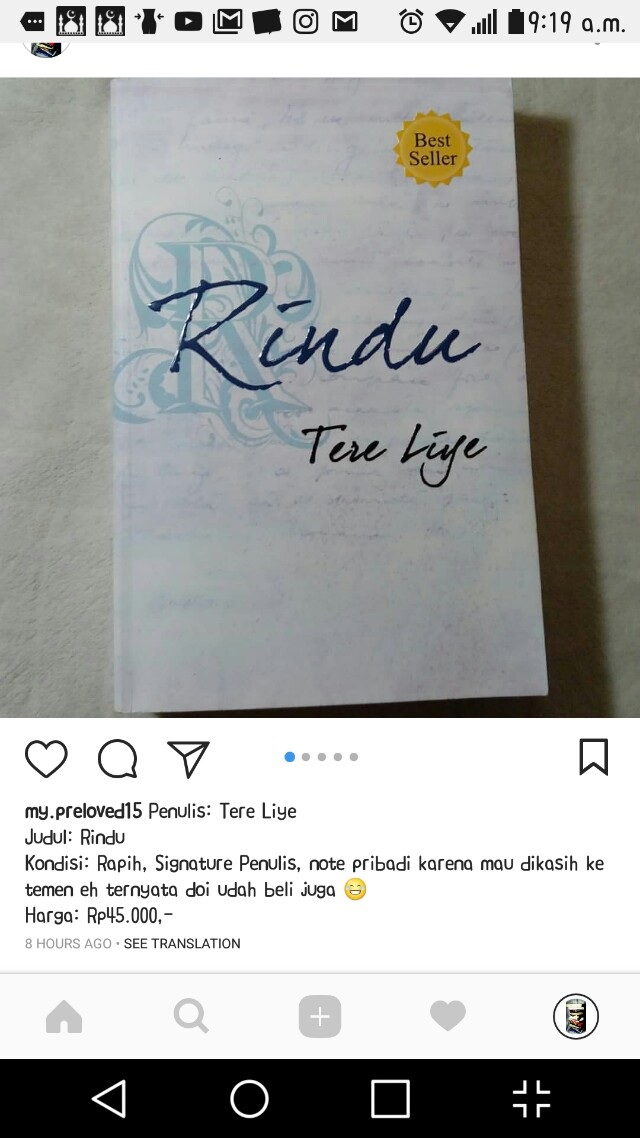 Preloved Novel Tere Liye Rindu
