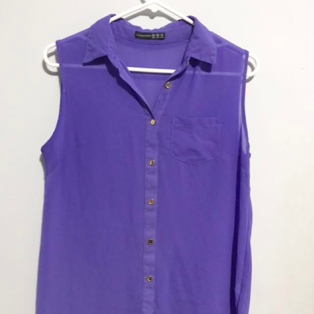 Purple Collared Buttoned down Tank top