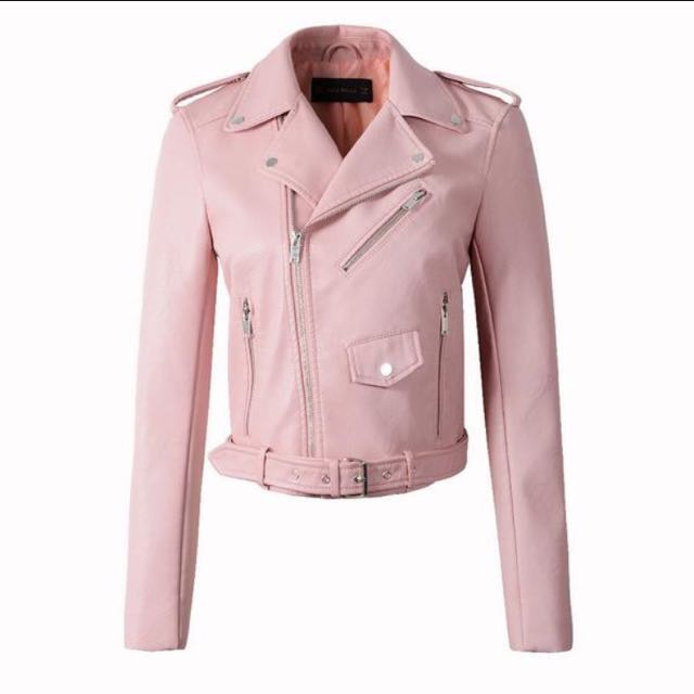 [READY STOCK] NEW Pink PU Leather Jacket