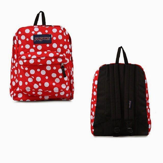 Red polka dots jansport bag