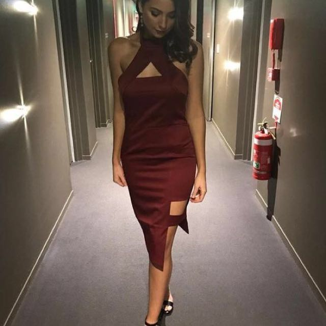 Runaway the label party dress in wine / burgundy (size 8)