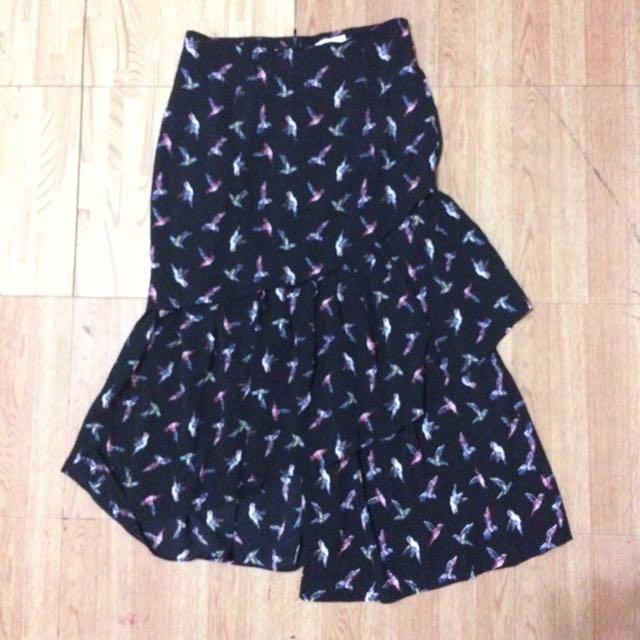 SALE! Black ruffled midi skirt