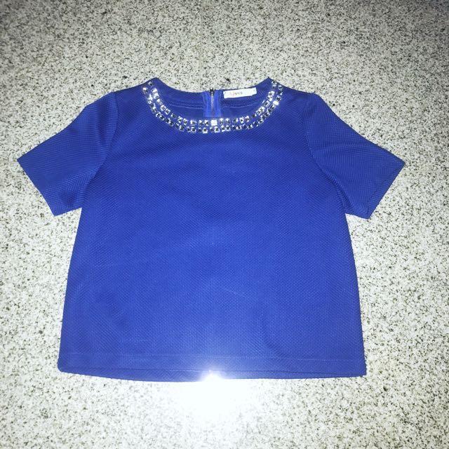 Shocking Blue Embellished Top