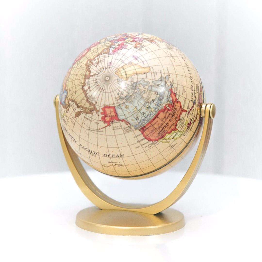 Small Golden Desk Globe Rental Props Deco Wedding Events