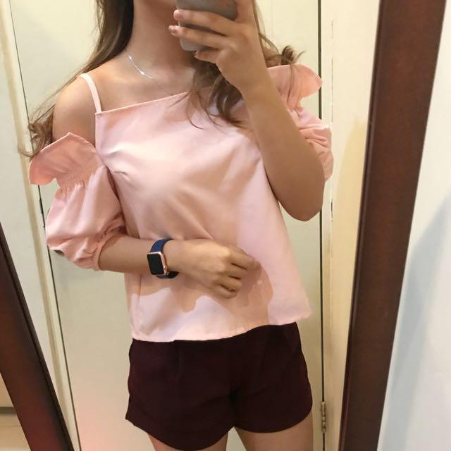 Soft pink off shoulder top