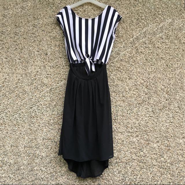 Stripes Cut Out Long Back Dress