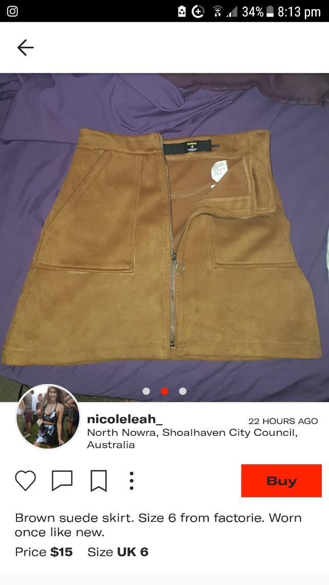 Suede Skirt size 6