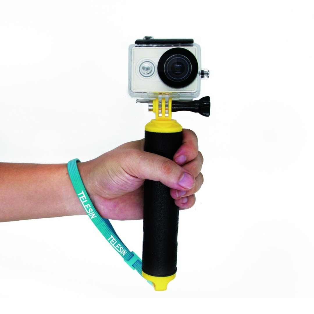 TELESIN 8 inch Floating Hand Grip for Gopro Hero 6/5/4/3 and similar Action Camera (Orange / Yellow)