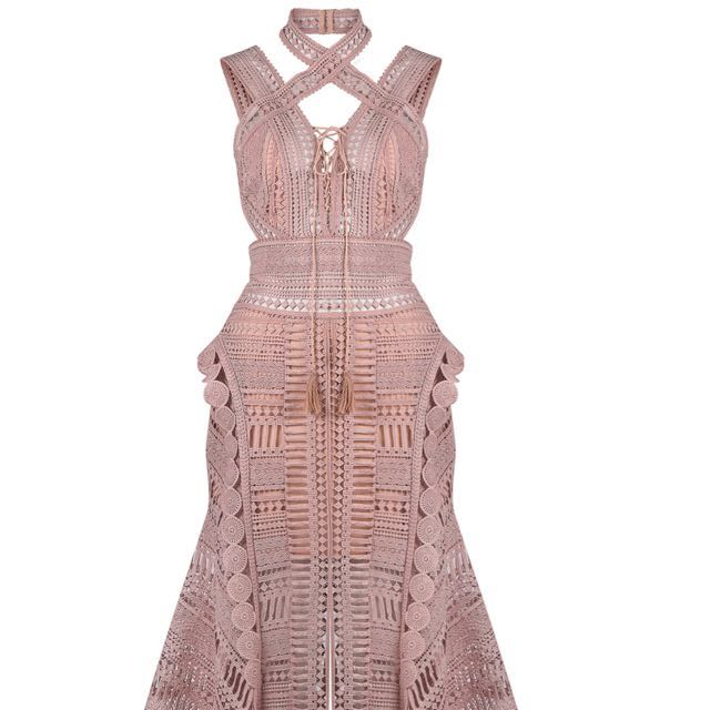Thurley Moon Dress Halter Back - Blush Pink BNWT