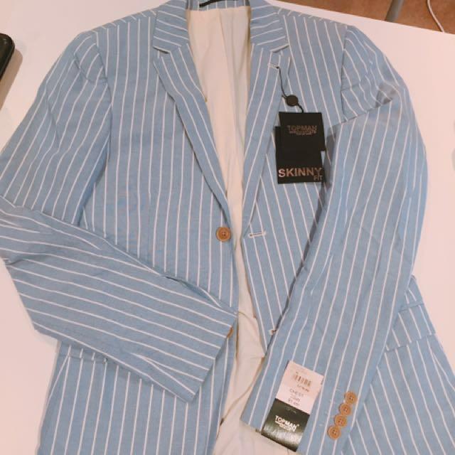 TOPMAN Blue & white striped Blazer