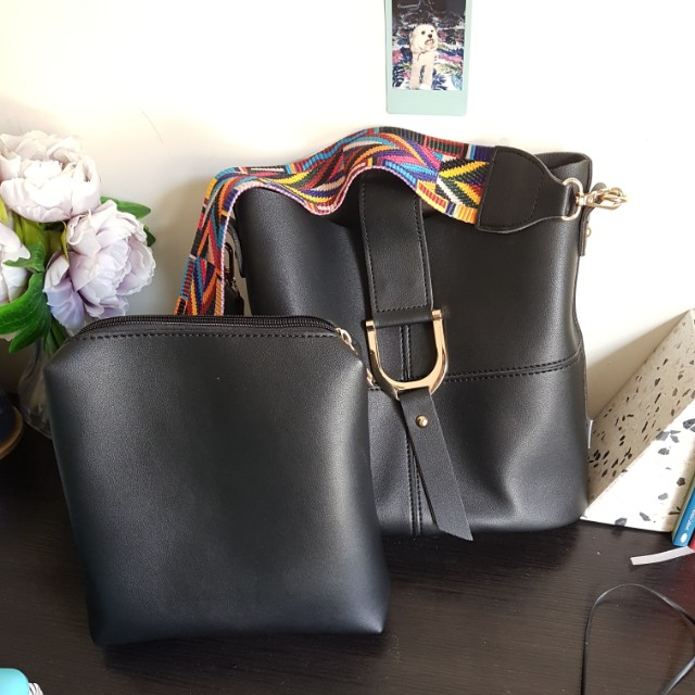 Tote bag black strap shoulder bags buckle leather purse wallet set