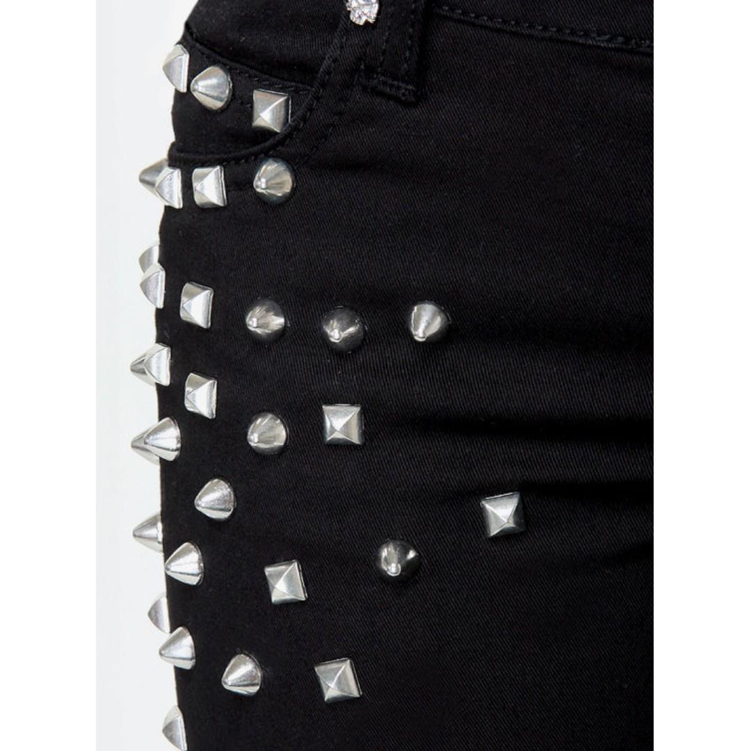 Tripp NYC Black Rock Studded Black Skinny Jeans - size 24 or 6