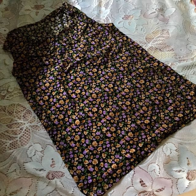 Unbranded Brown Floral Sleeveless Top