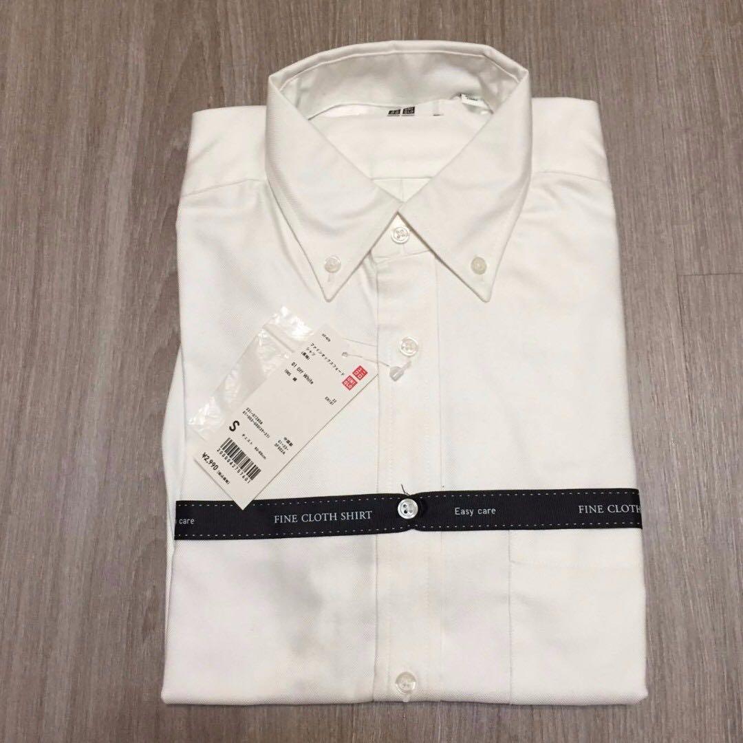 [Uniqlo]降價 男生 精紡府綢襯衫 長袖襯衫 白色 S