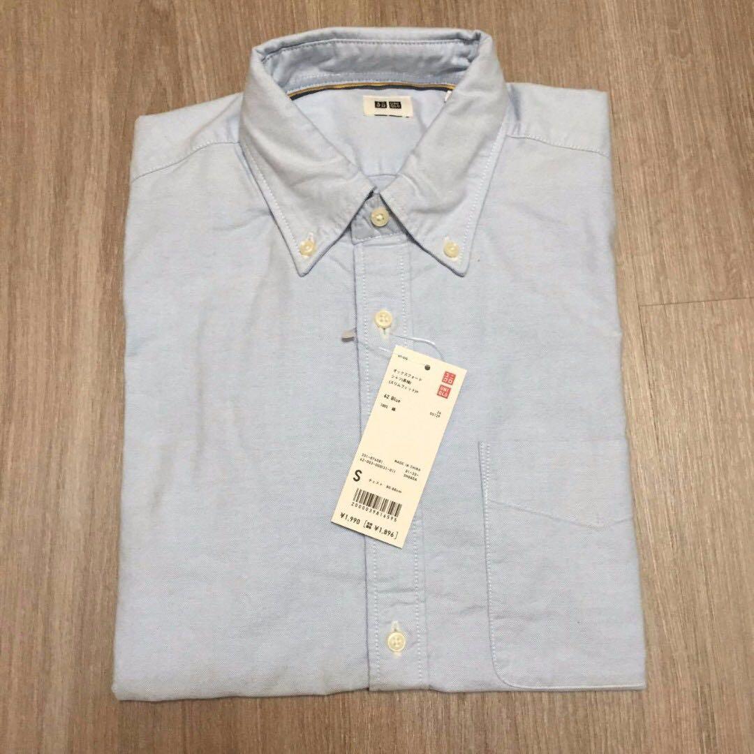 [Uniqlo]降價 男生 牛津襯衫 長袖襯衫 藍色 S