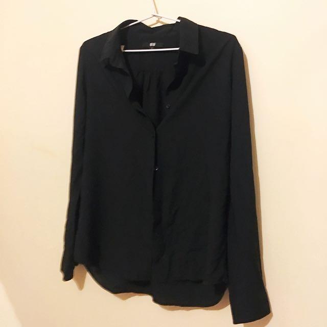 Uniqlo black chiffon modal work corporate Long Sleeve Blouse s