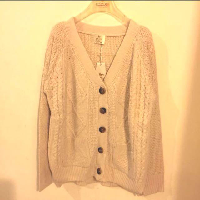🍒V領 麻花編織針織 外套