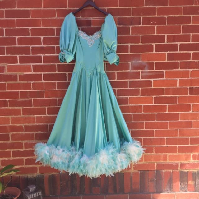 Vintage Aqua feather hem dress