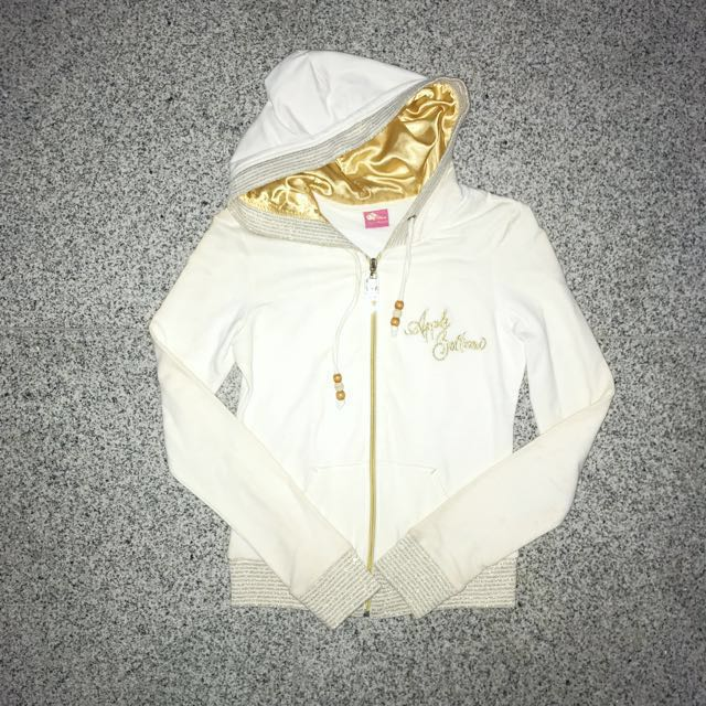 White & Gold Jacket With Hoodie