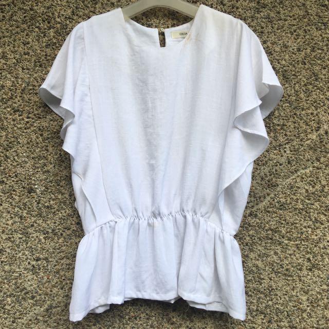 White Gartered Waist Top