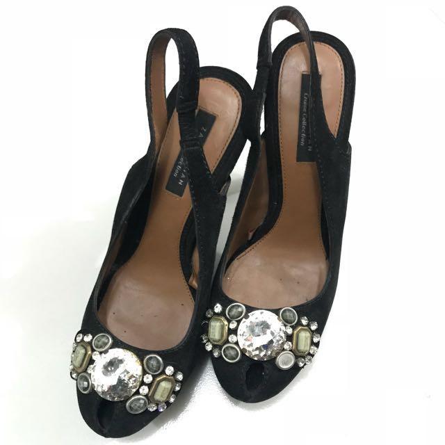 ZARA Black Jewelled Heels