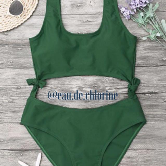 Zara Green One Piece Swimsuit Monokini Swimwear