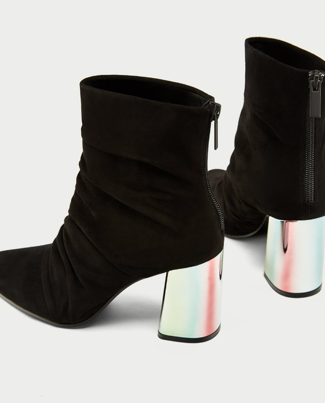 Zara Leather Ankle Boots with Chrome Heel