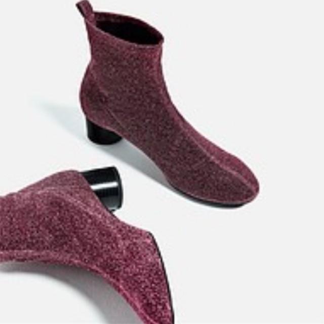Zara Maroon Glitter Sock Ankle Boots