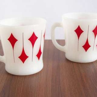 Vintage 1950's Fire King Red Kite Diamond Milk Glass Mugs