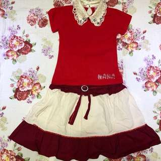 Red Lace Top with skirt